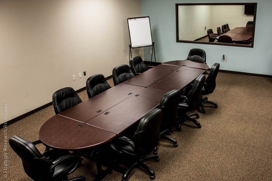 Strategic Research Associates Spokane Facility Focus Group Room with One-way Mirror